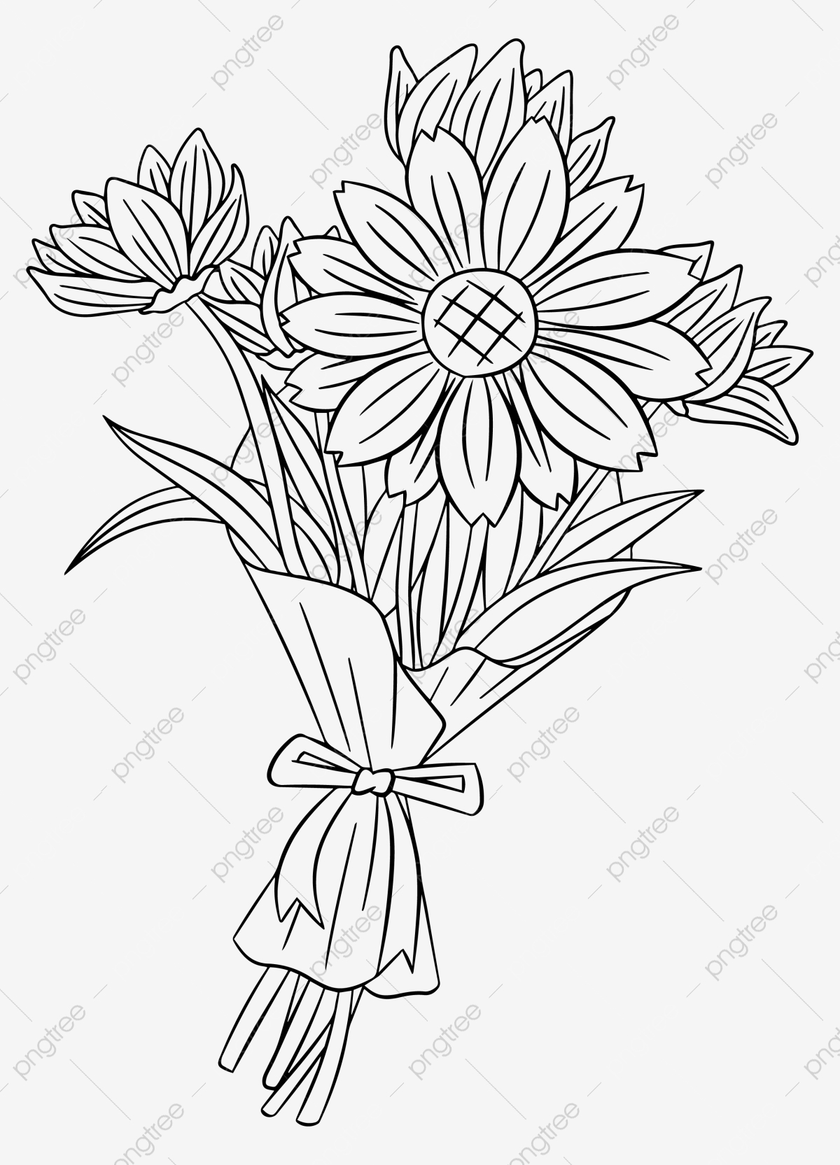 Hand Drawn Simple Daisy Bouquet Clipart Black And White Line Drawing Flowers Png And Vector With Transparent Background For Free Download