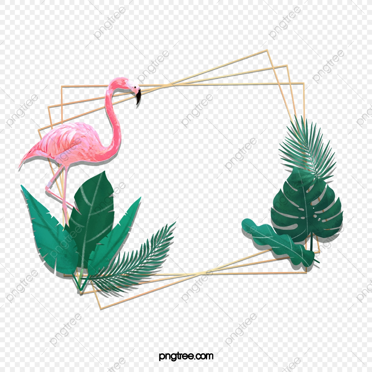pngtree hand painted flamingo monstera creative border png image 5363338
