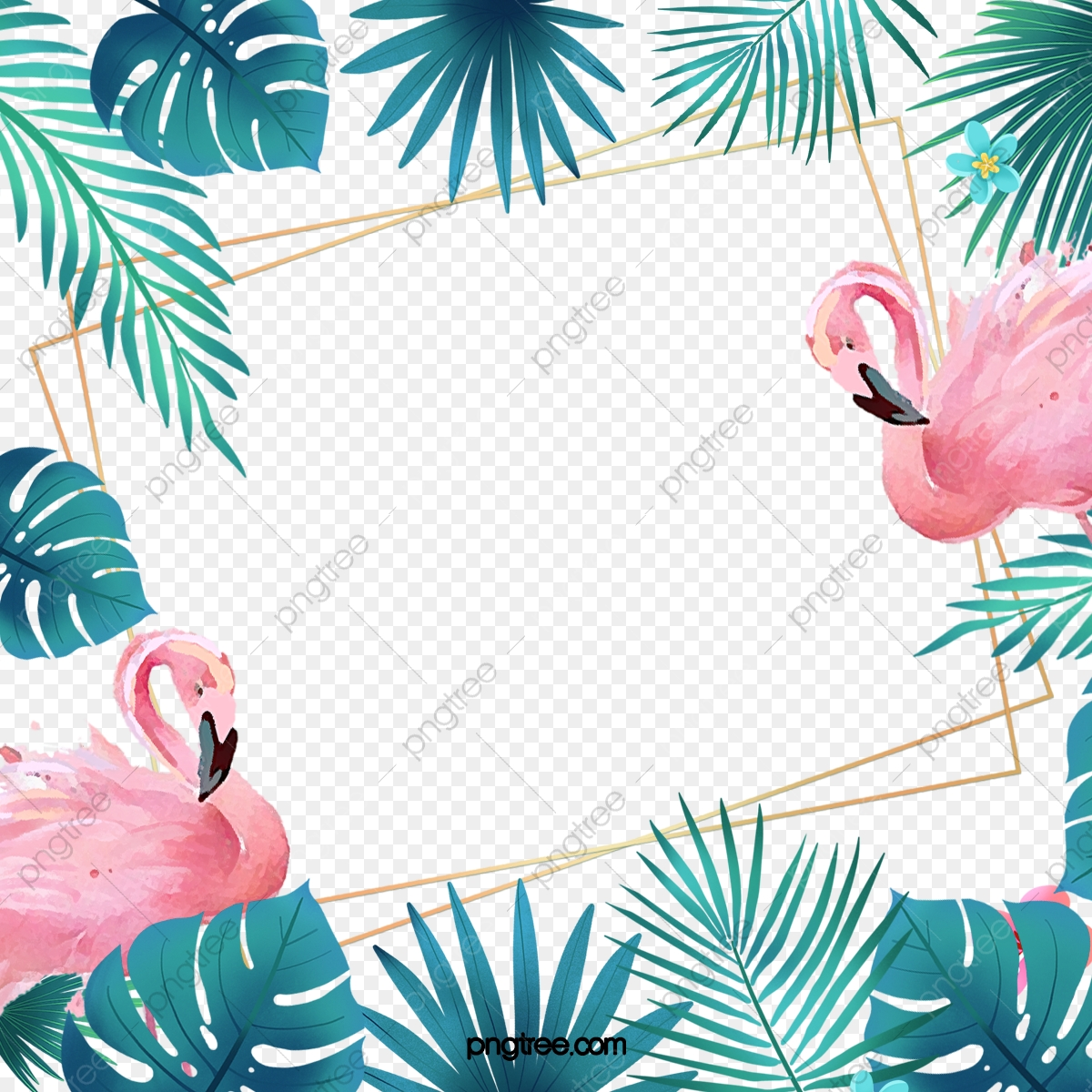 pngtree hand painted flamingo monstera creative border png image 5363339