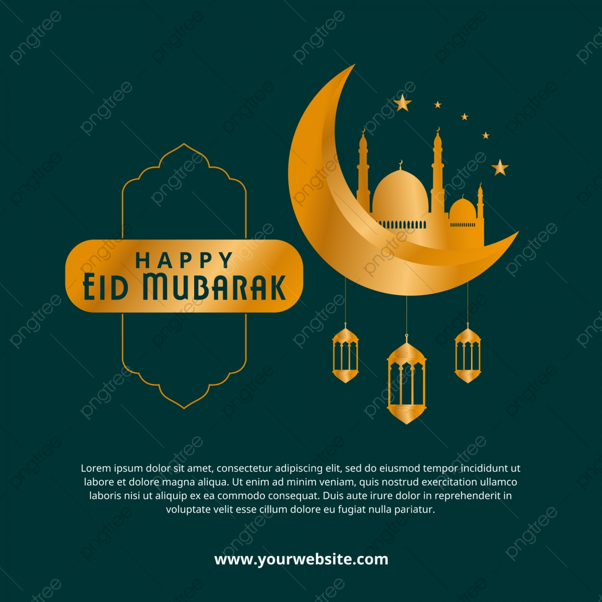 Luxury Eid Mubarak Greeting Card Template With Gold Colors
