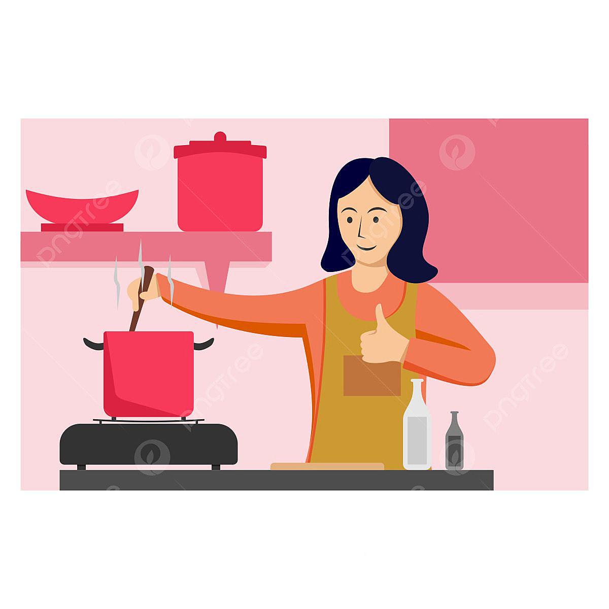 Gambar Ibu Memasak Di Dapur Reka Bentuk Ilustrasi Ilustrasi Png Dan Vektor Untuk Muat Turun Percuma