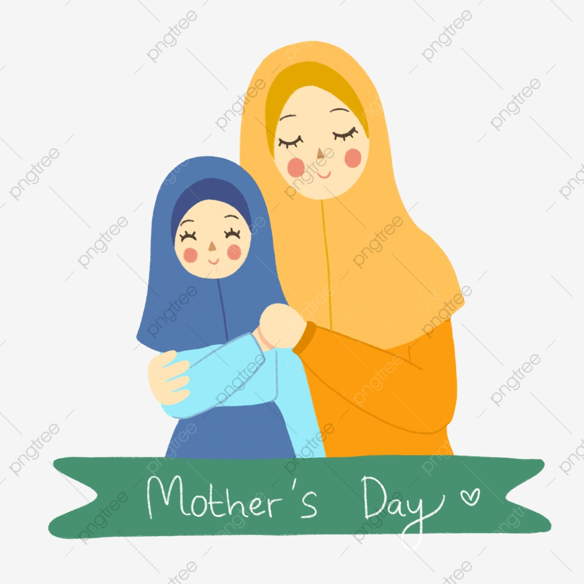 pngtree muslim family in hijab cute mothers day illustration in hand drawn png image 5435242