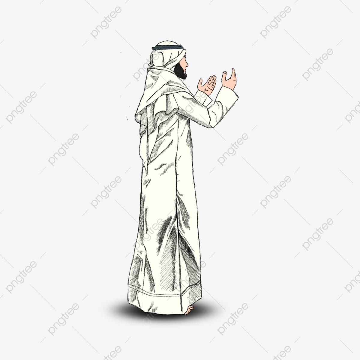 Muslim Man Wearing Robe Side View Illustration Religion Cartoon Png Transparent Clipart Image And Psd File For Free Download