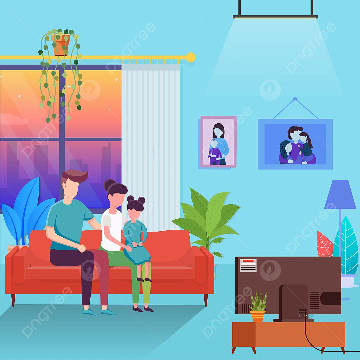 Orang Tua Menghabiskan Waktu Bersama Anak Anak Menonton Televisi Di Rumah Ilustrasi Vektor Keluarga Kartun Karakter Kartun Png Dan Vektor Dengan Latar Belakang Transparan Untuk Unduh Gratis