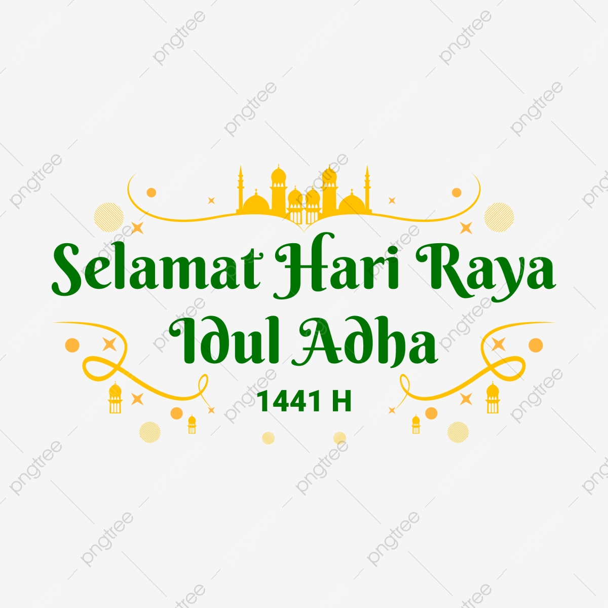 Selamat Hari Raya Idul Adha 1441 H Greeting Text Yellow Green Idul Adha Eid Al Adha Eid Adha Png And Vector With Transparent Background For Free Download