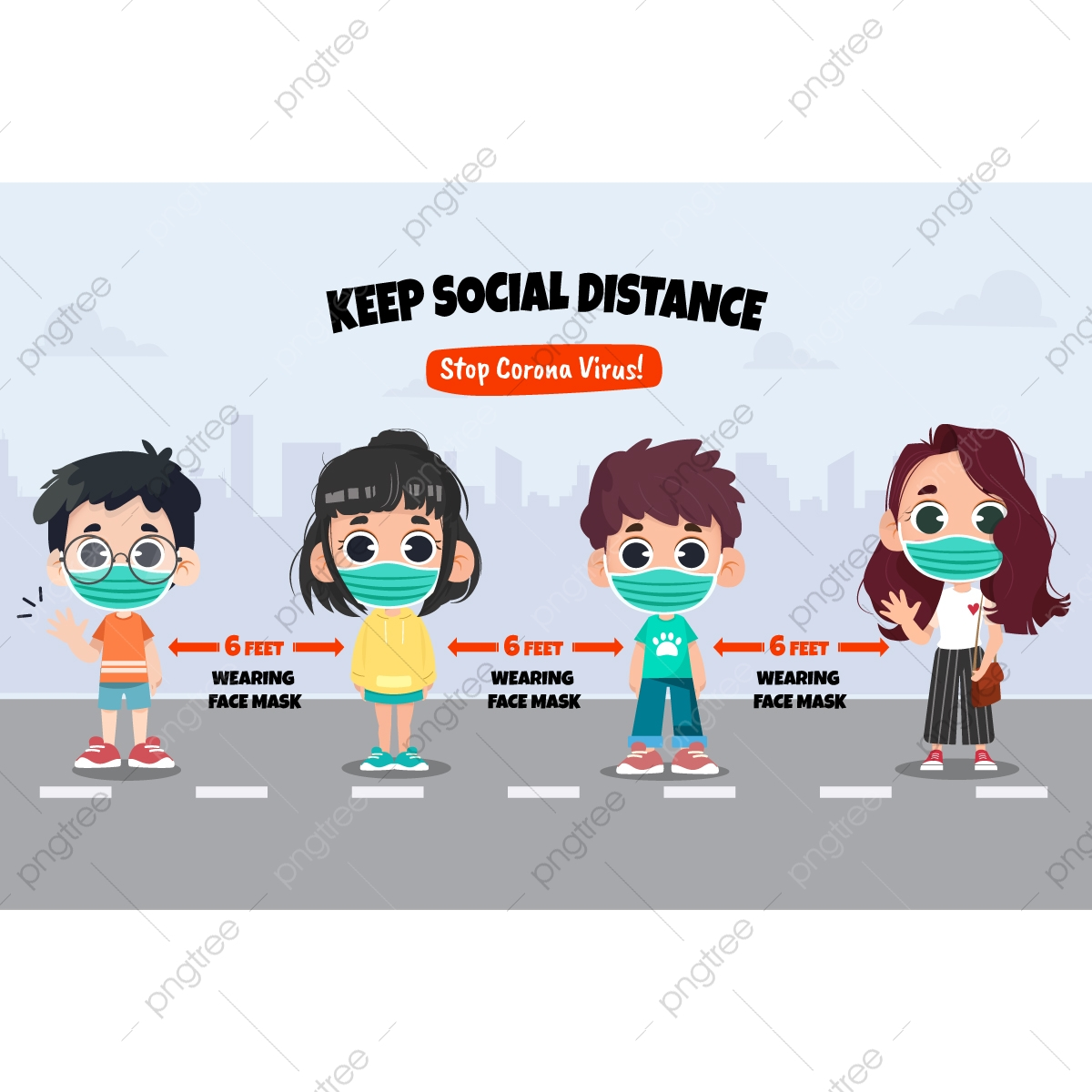 Social Distancing Protection Concept Social Clipart People Kids Png And Vector With Transparent Background For Free Download