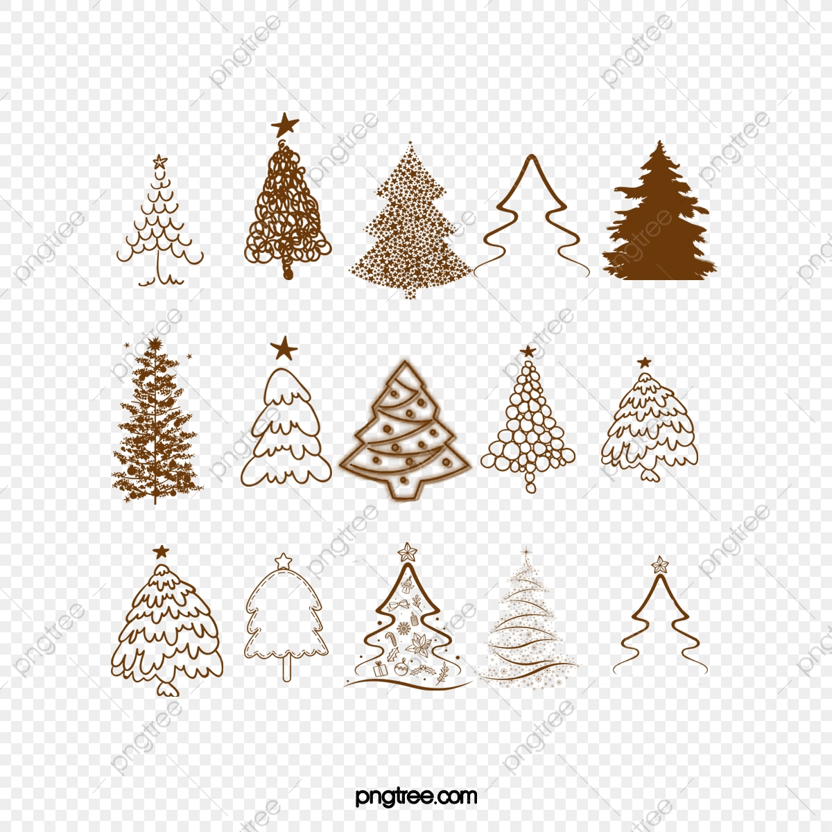All Kinds Of Vintage Christmas Tree Vector Material Tree Clipart Christmas Decoration Png Transparent Clipart Image And Psd File For Free Download