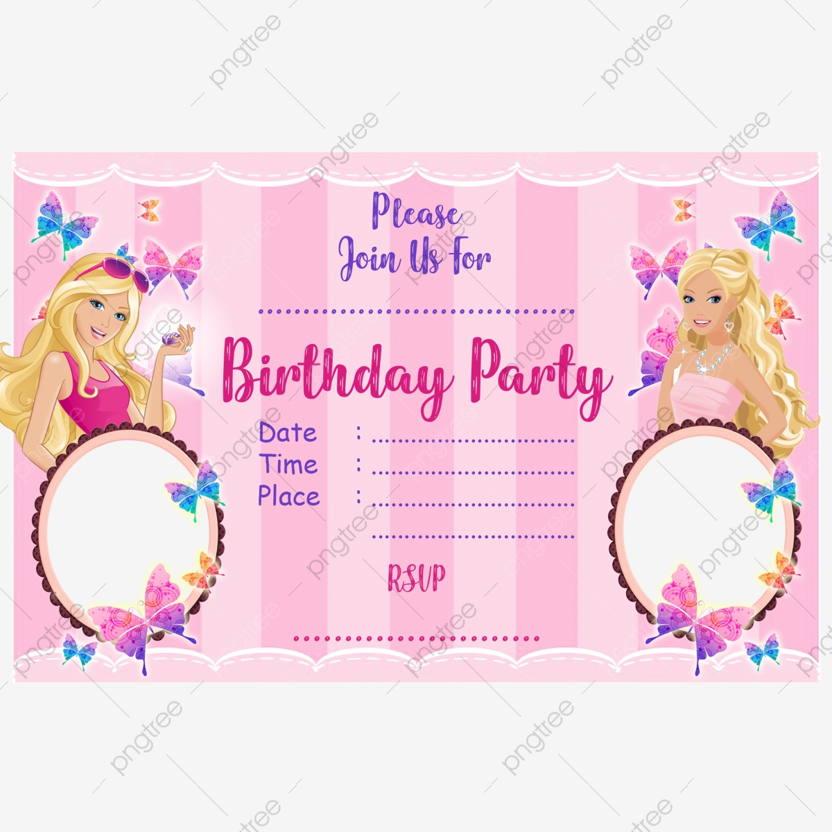 Barbie Birthday Invitation Card Template for Free Download on Pngtree