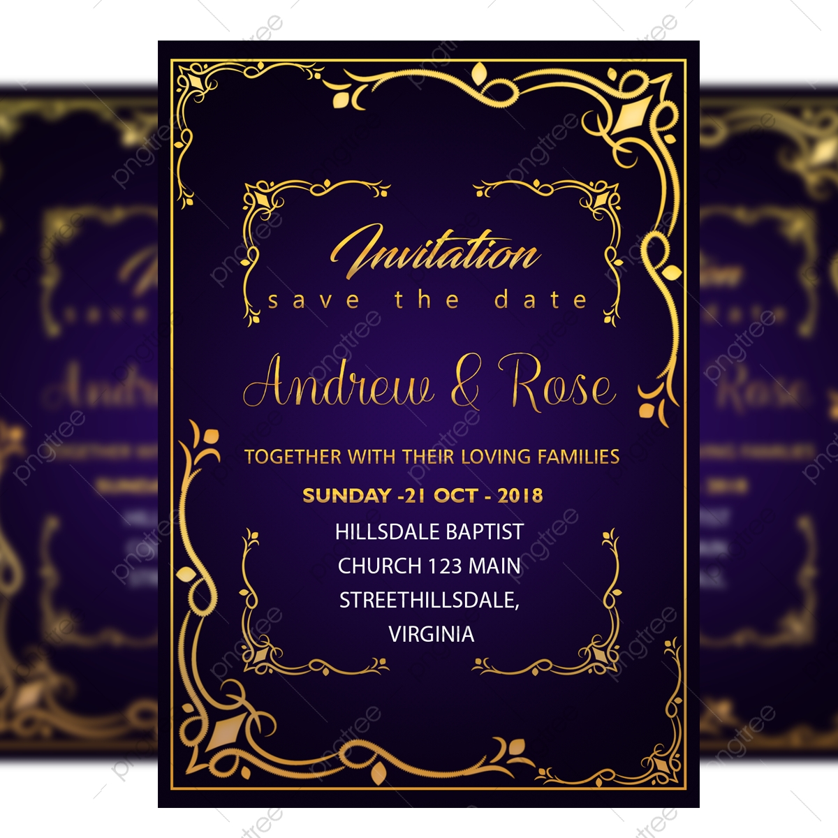 Blue Wedding Invitation Card Template Psd With Gold Frame And Border Template For Free Download On Pngtree