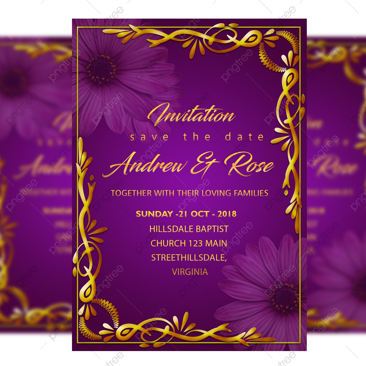 Gold Border Wedding Invitation Card Template With With Gold Frame And Purple Background Template For Free Download On Pngtree