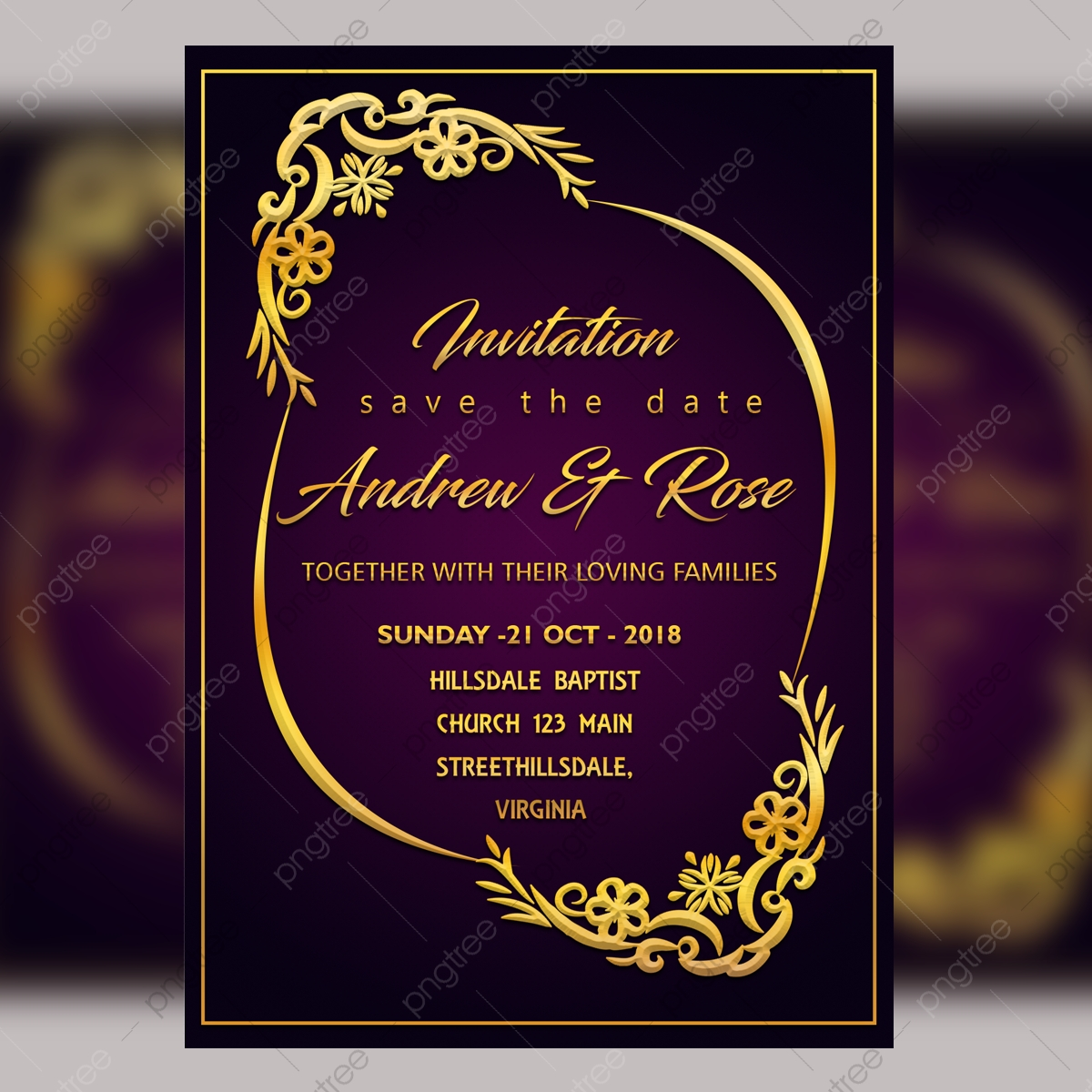 Purple Wedding Invitation Card Template Psd File With ...
