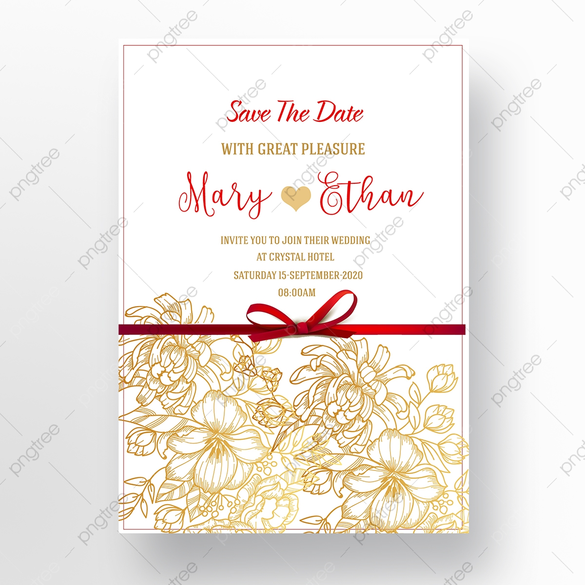 Red Wedding Invitation Template Download on Pngtree