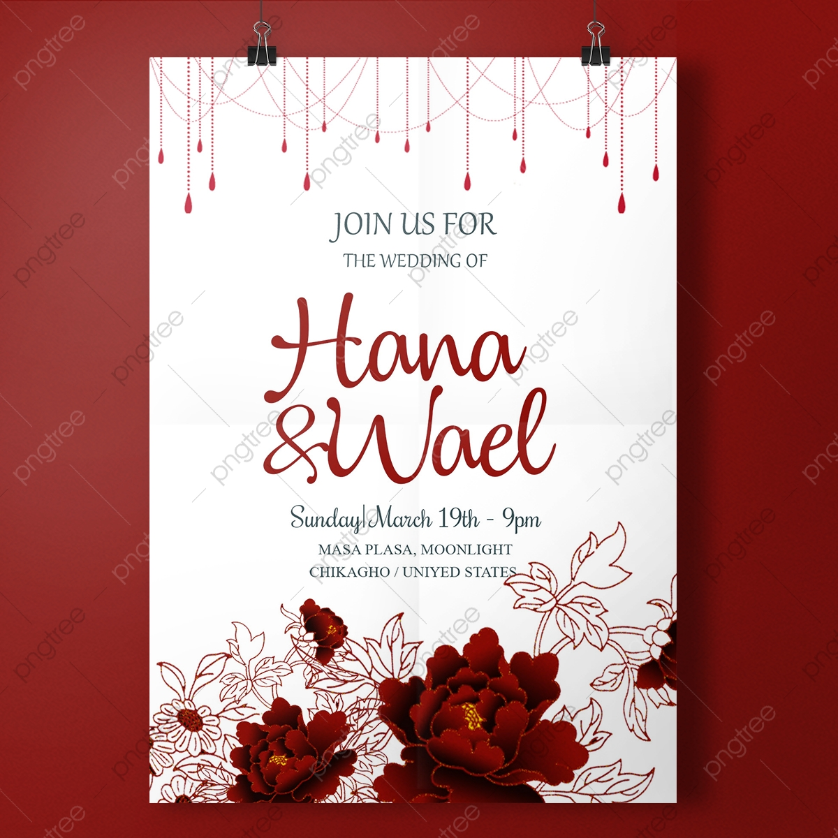 Romance Red Wedding Invitation Template Wedding Menu Template