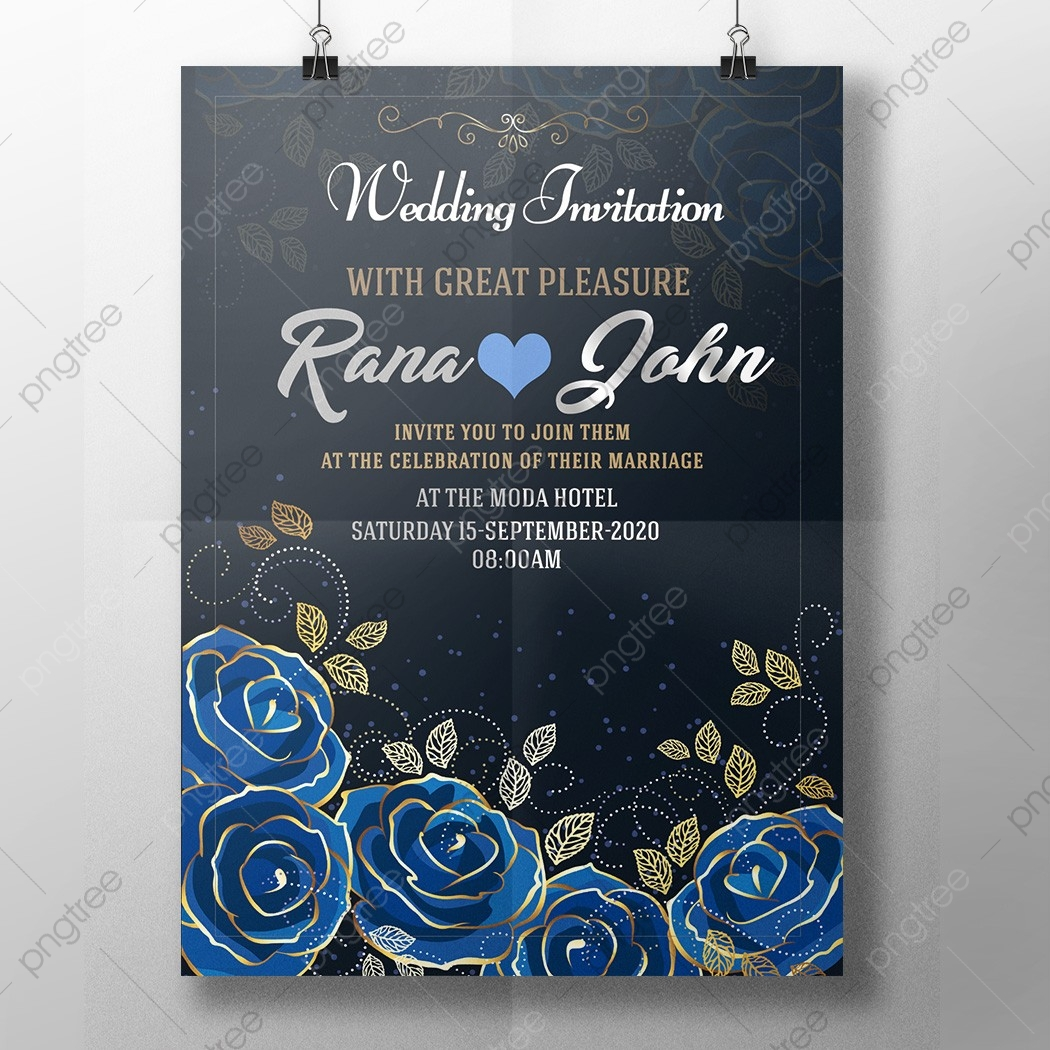 Royal Blue Wedding Invitation Wedding Template Download on Pngtree