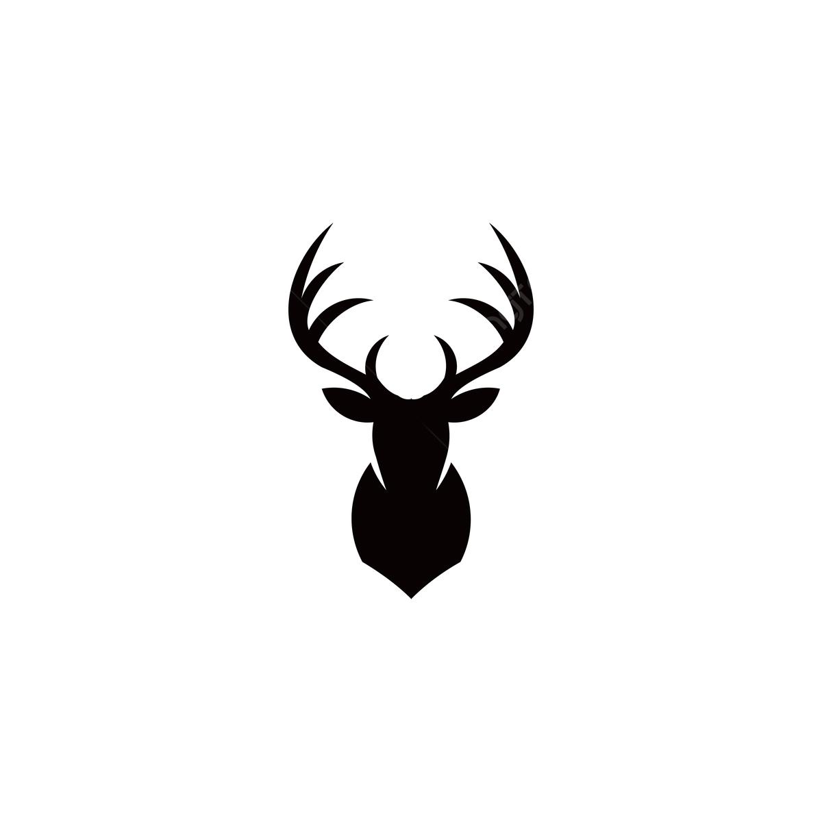 silhouette hirsch kopf mit geweih auf weißem hintergrund