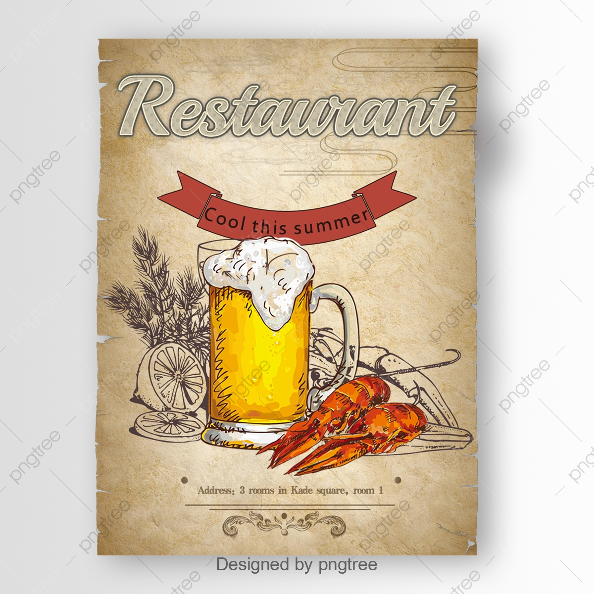 Vintage Poster With Abstract Restaurant Font Font Effect Psd For Free Download
