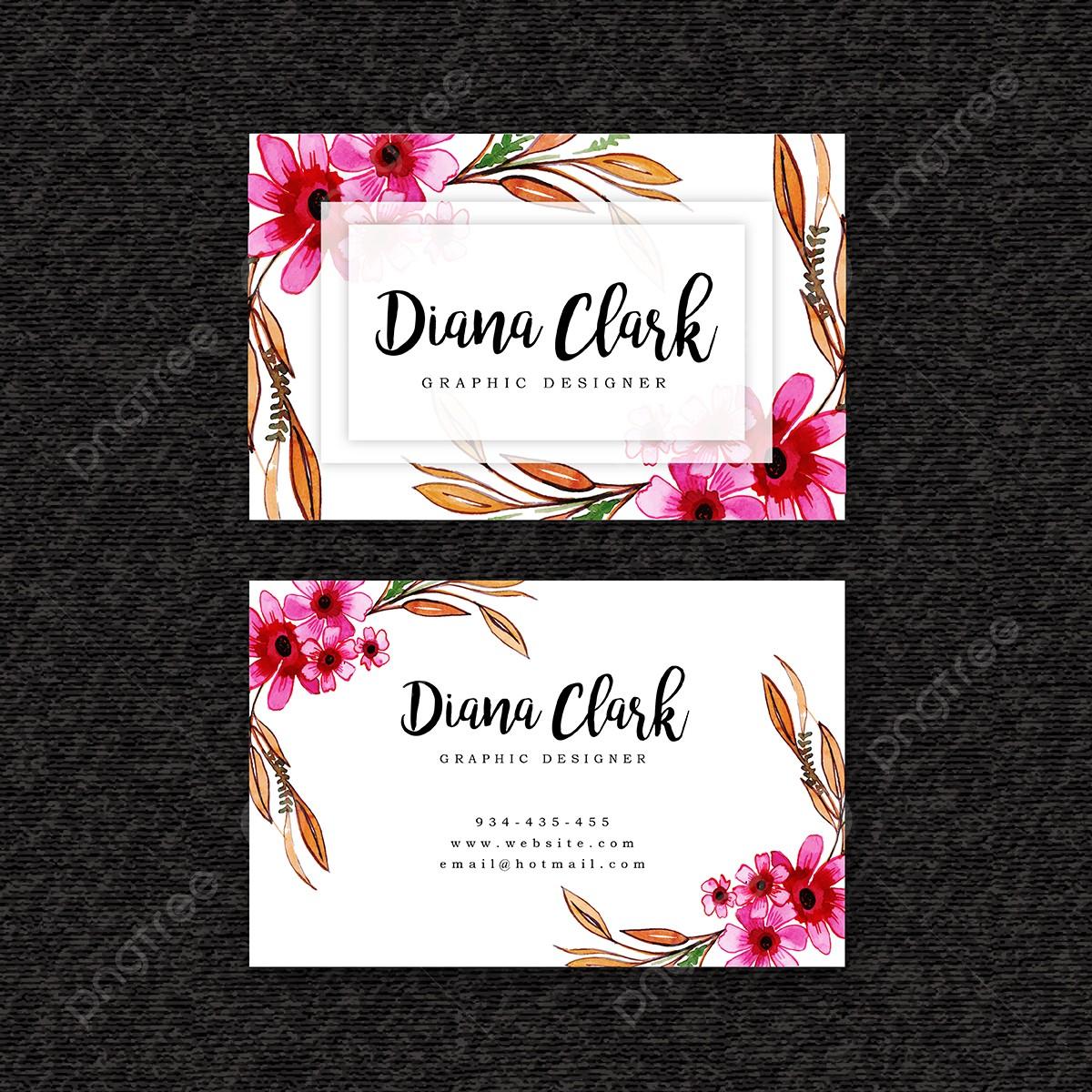 Aquarell Floral Visitenkarte Vorlage Vorlage Zum Kostenlosen Download Auf Pngtree