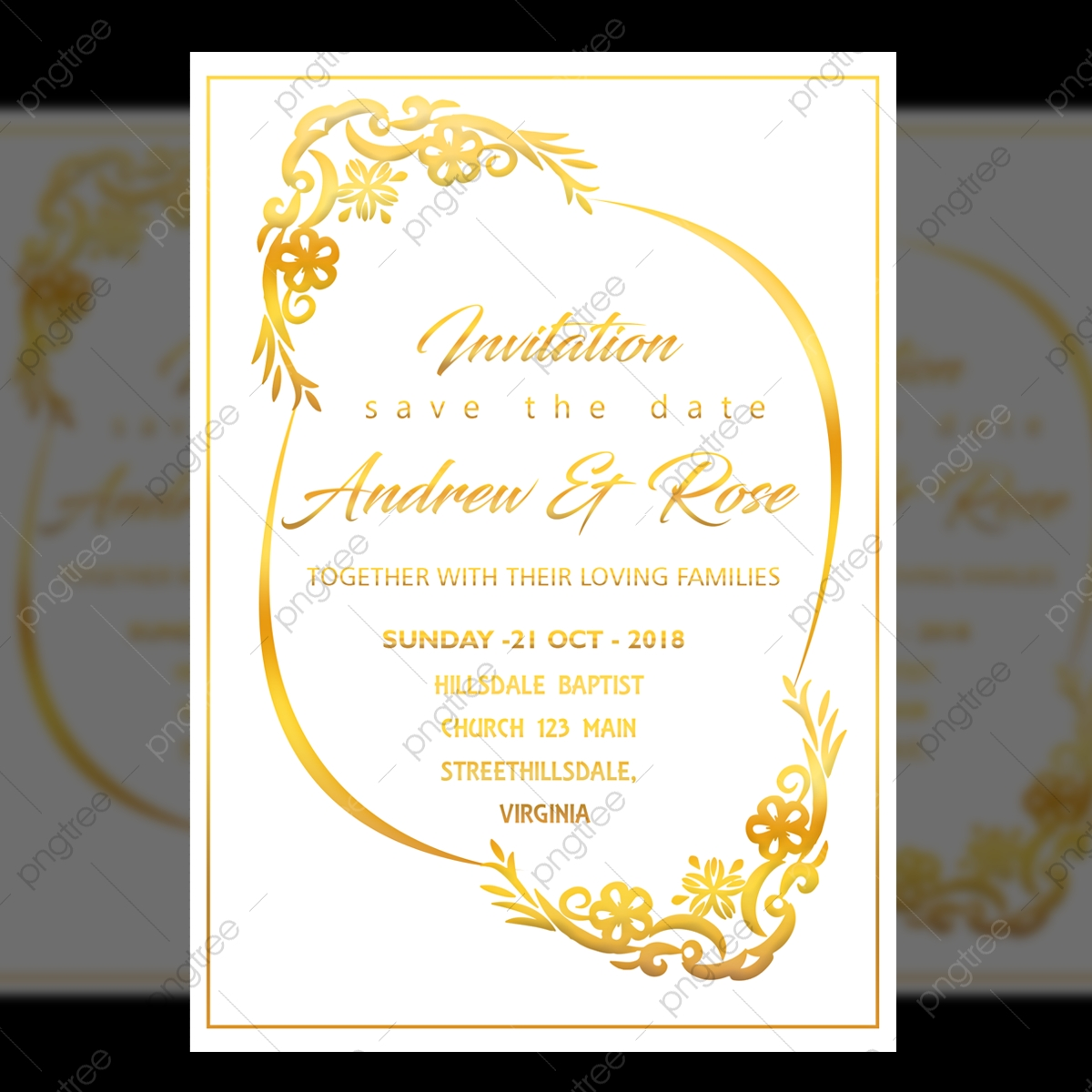 White Wedding Invitation Card Design Template With Gold Floral Frame Template For Free Download On Pngtree