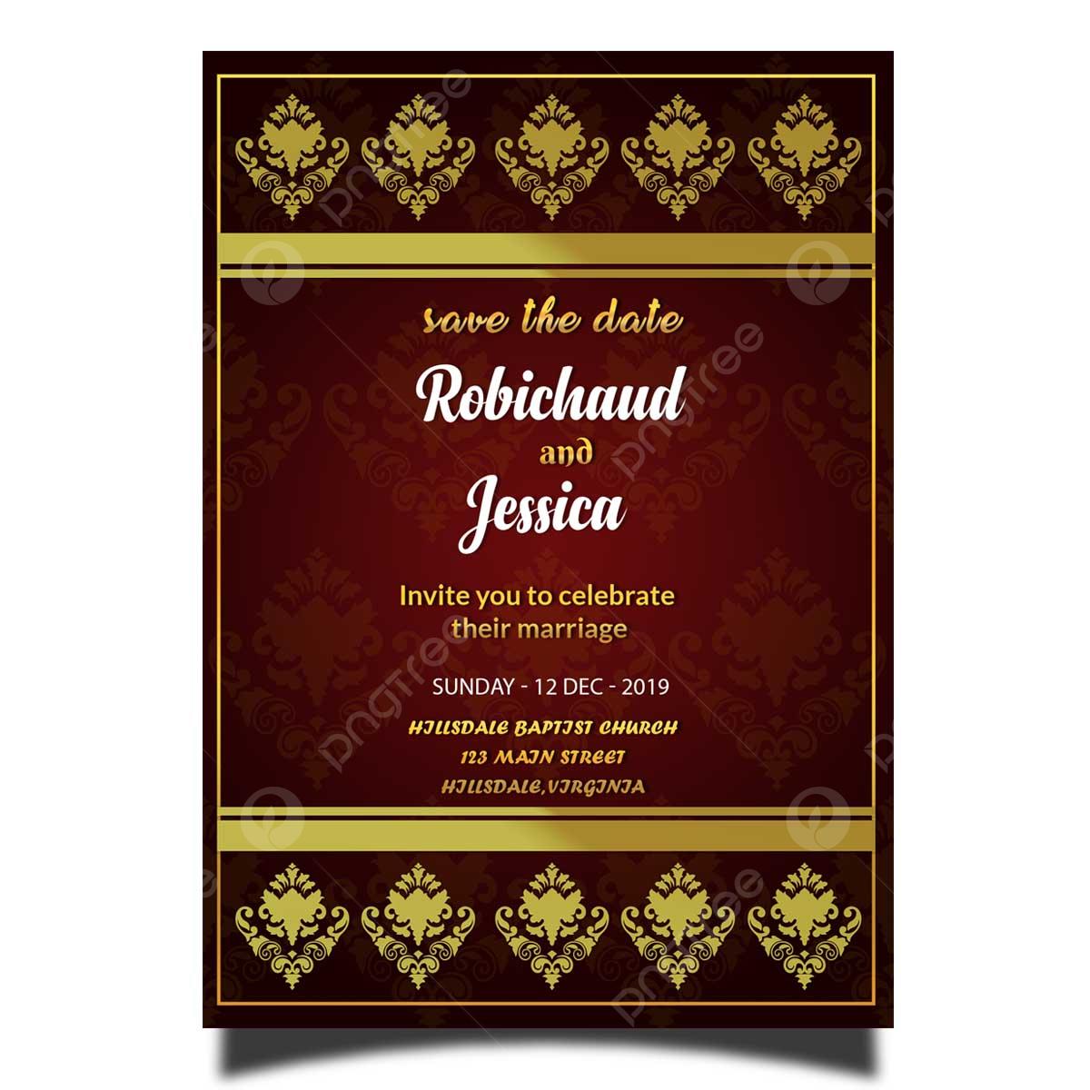 Gambar Elegan Royal Perkahwinan Kad Jemputan Template Jpa Dengan Bingkai Emas Dan Emas Sempadan Templat Untuk Muat Turun Percuma Di Pngtree