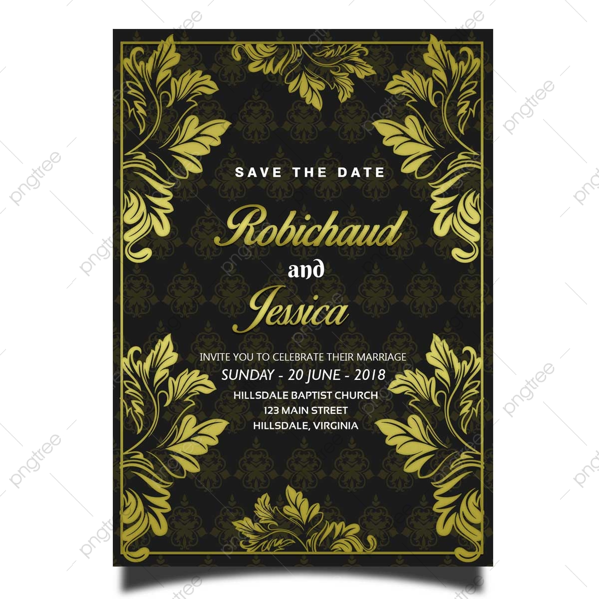 Gold Flower Wedding Invitation Card Template With Elegant Background And Pattern Template For Free Download On Pngtree