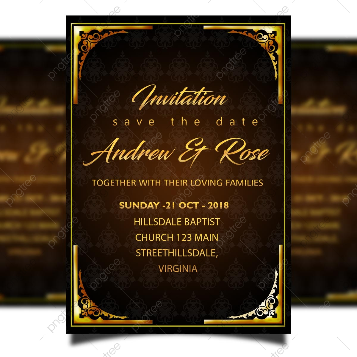 Gold Wedding Invitation Card Template With Gold Frames And Gold Border Template Download On Pngtree