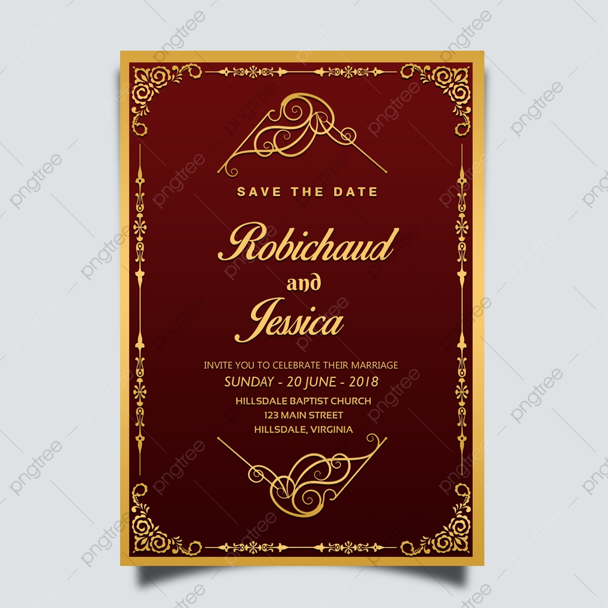Wedding Invitation Card Design Template With Gold Floral Frame Template for  Free Download on Pngtree