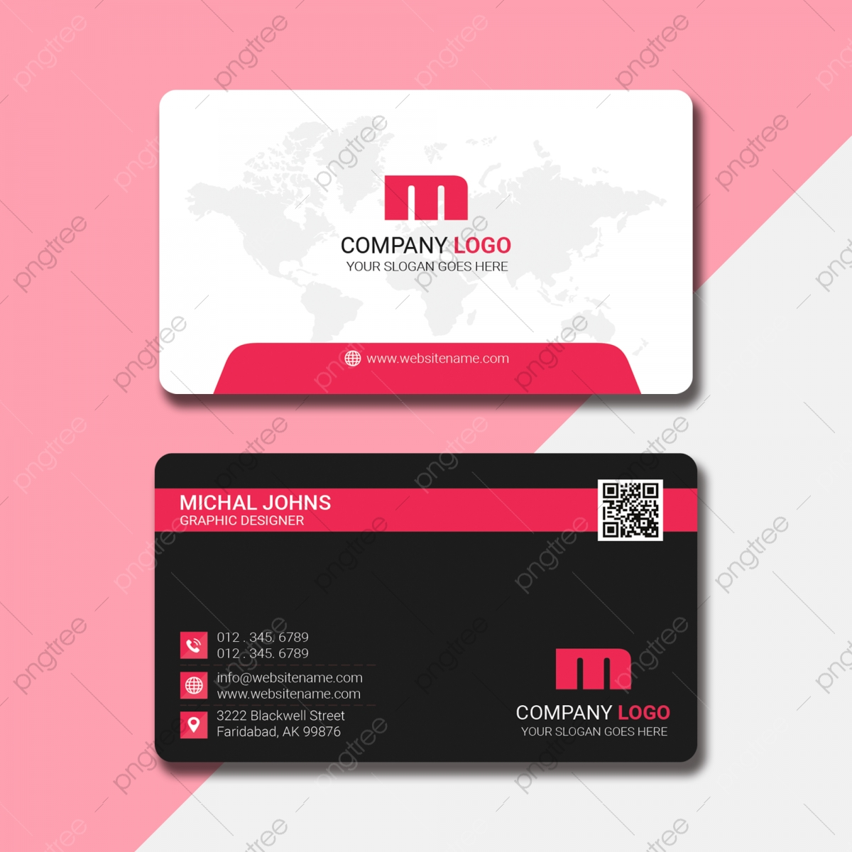 Creative Business Card With Qr Code Place Template Download on Pngtree