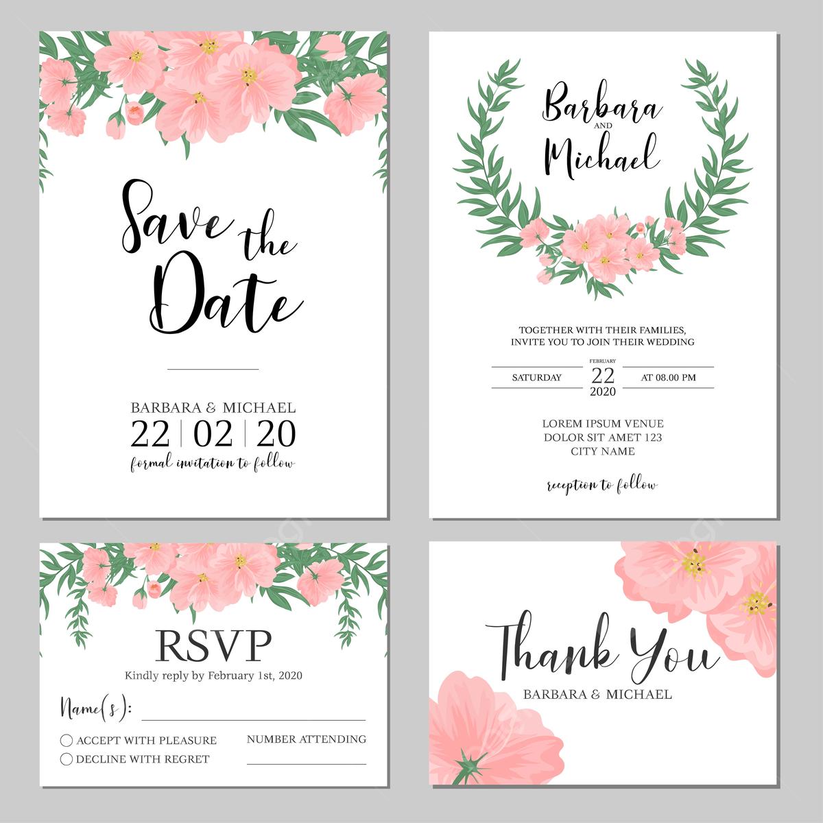Gambar Menu Perkahwinan Templat Kad Jemputan Perkahwinan Bunga Templat Untuk Muat Turun Percuma Di Pngtree