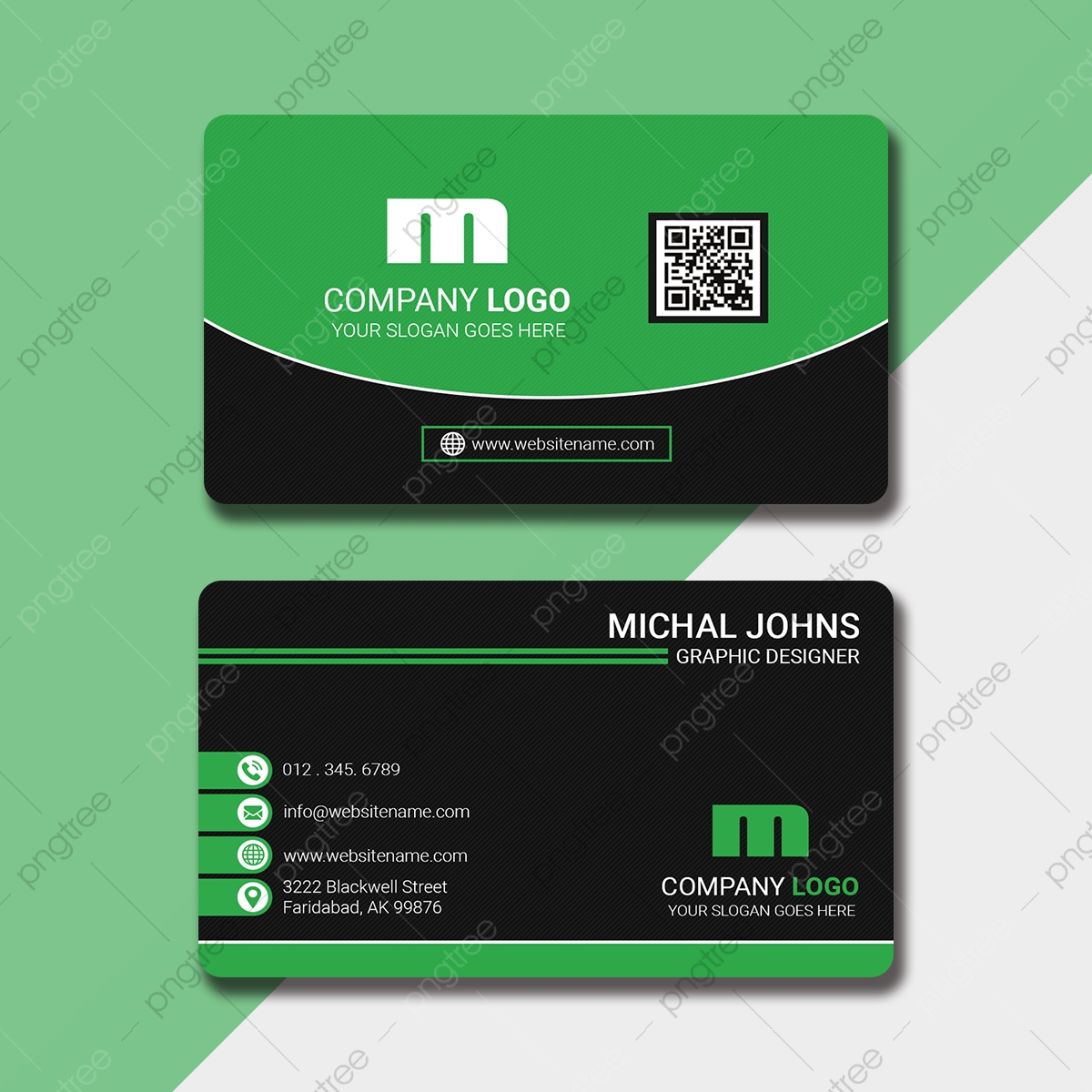 Modern Lime Business Card With Qr Code Template Download on Pngtree