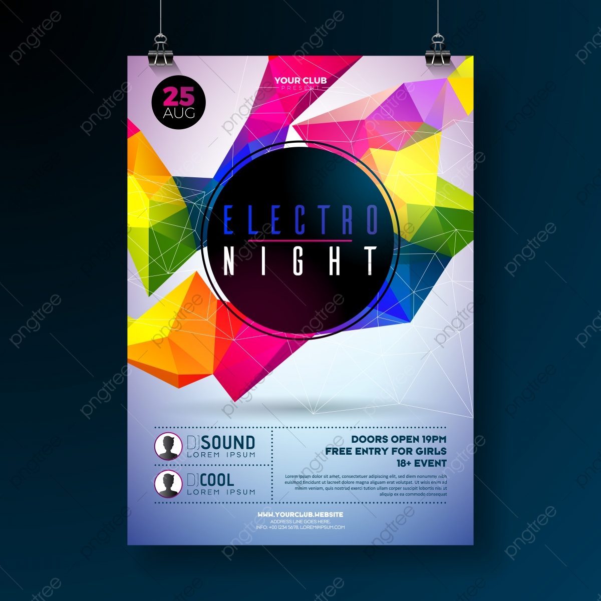 Night Dance Party Poster Design With Abstract Modern Geometric Shapes On Shiny Background Electro Style Disco Club Template For Abstract Music Event Flyer Invitation Or Promotional Banner Template For Free Download On