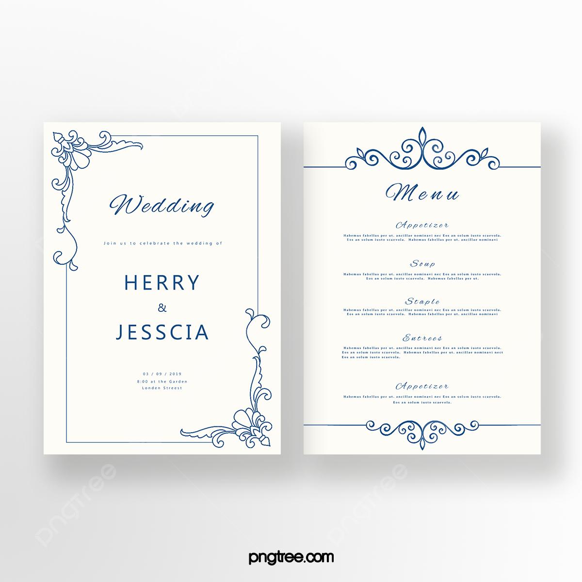 Simple Cobalt Blue European Wedding Invitation Letter Template for Free  Download on Pngtree