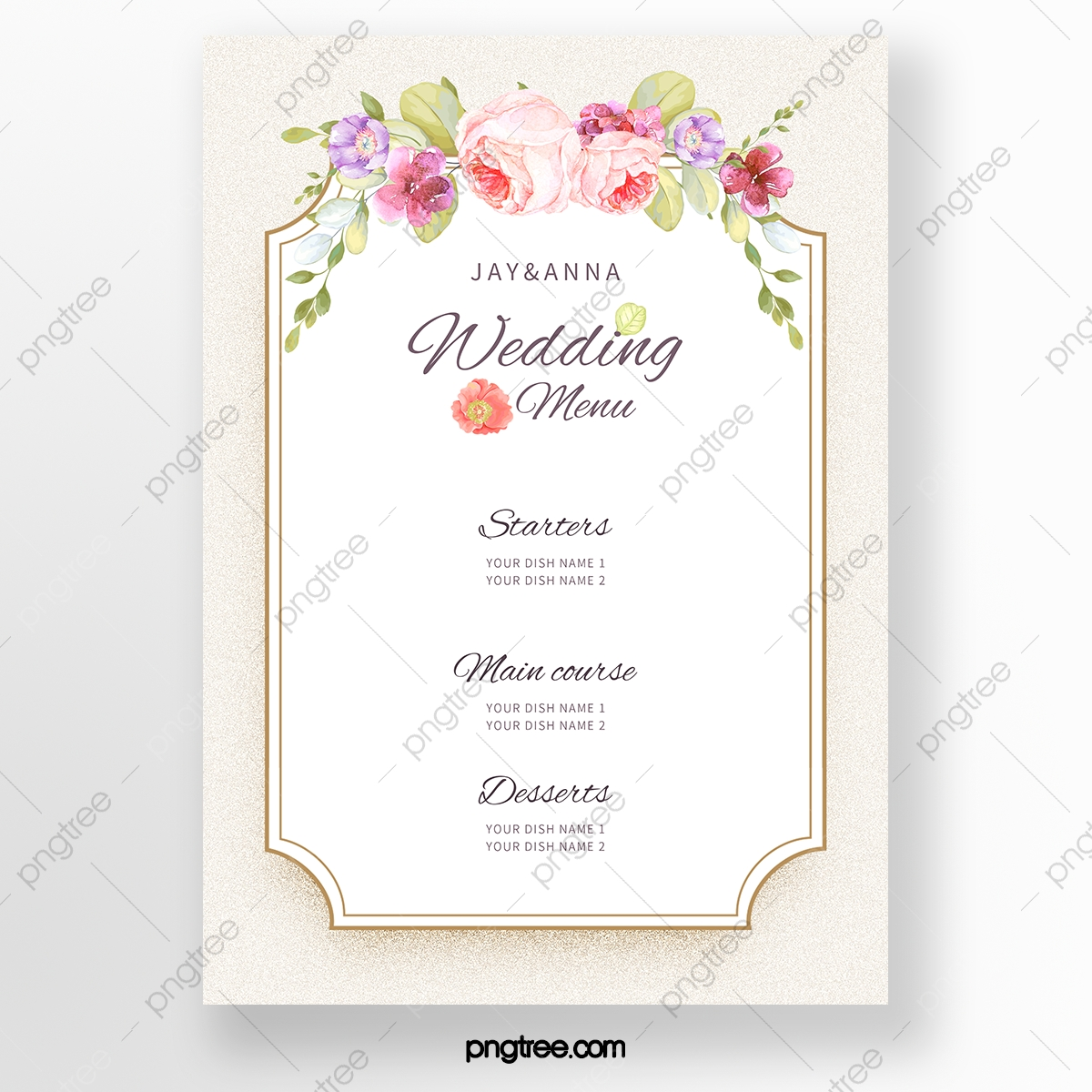 Simple Light Color Warm Wedding Menu Template Template Download On Pngtree