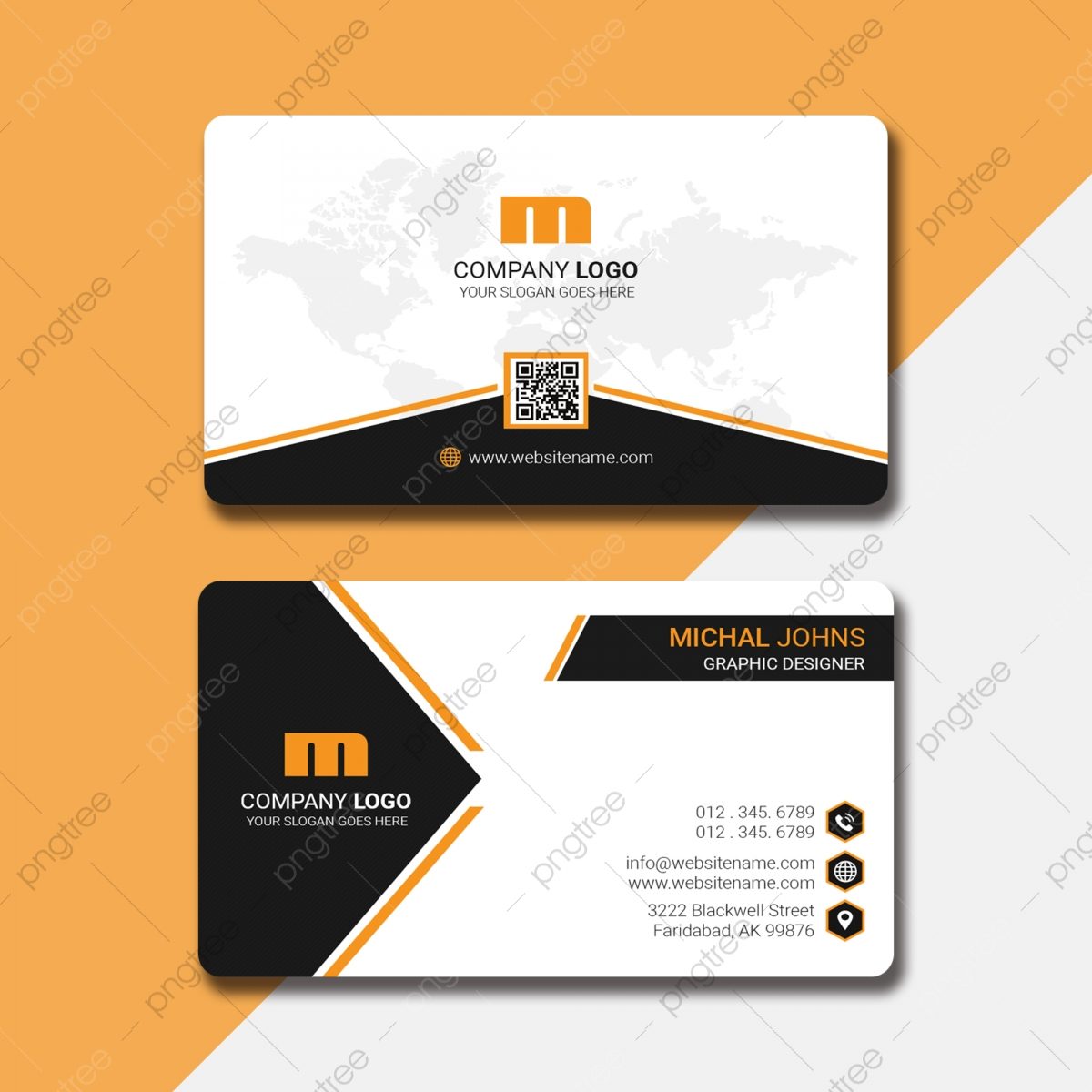 Stylish Business Card With Qr Code Template Download on Pngtree For Qr Code Business Card Template