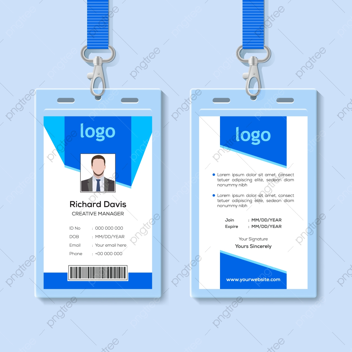 Blue Employee Identity Card Template Template Download on Pngtree Pertaining To Conference Id Card Template