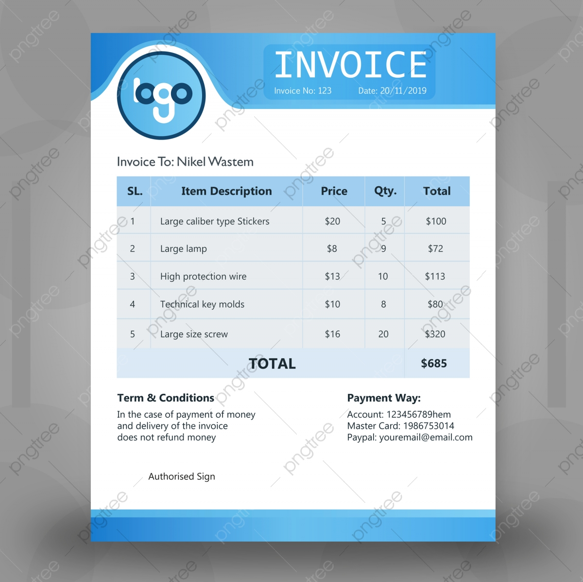 Blue Invoice Template Design Template Download On Pngtree