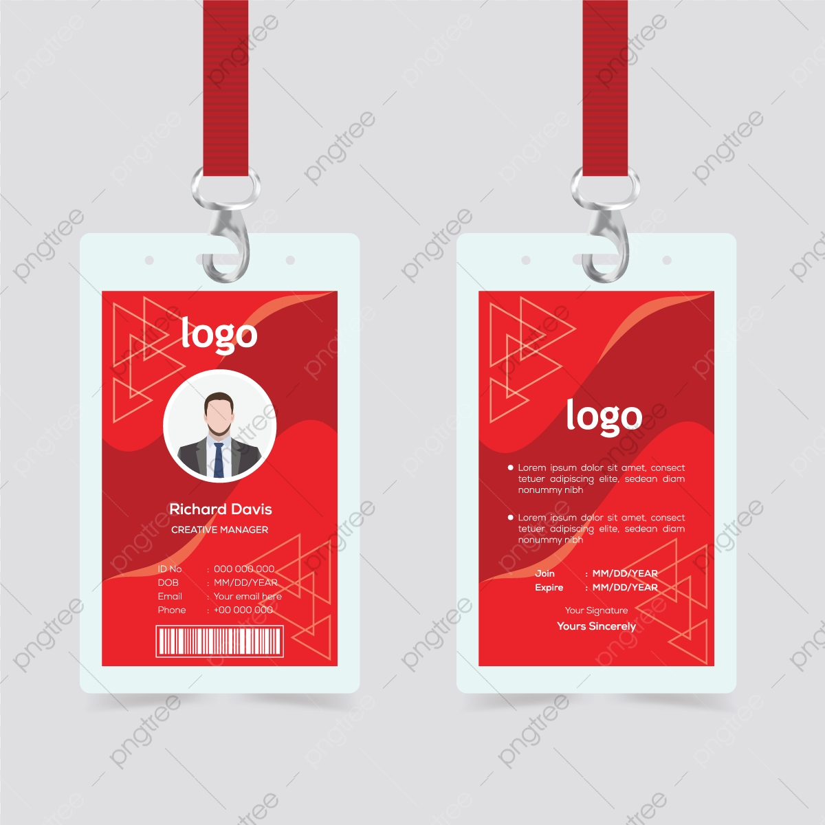 Creative Id Card Template With Abstract Red Background Template With Regard To Conference Id Card Template