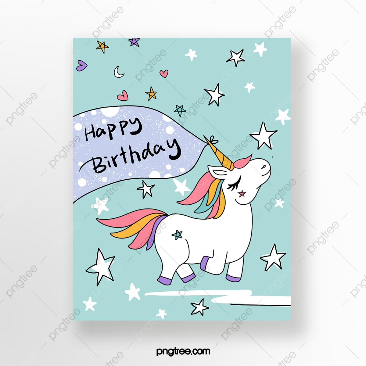 Unicorn Birthday Card Template Download on Pngtree