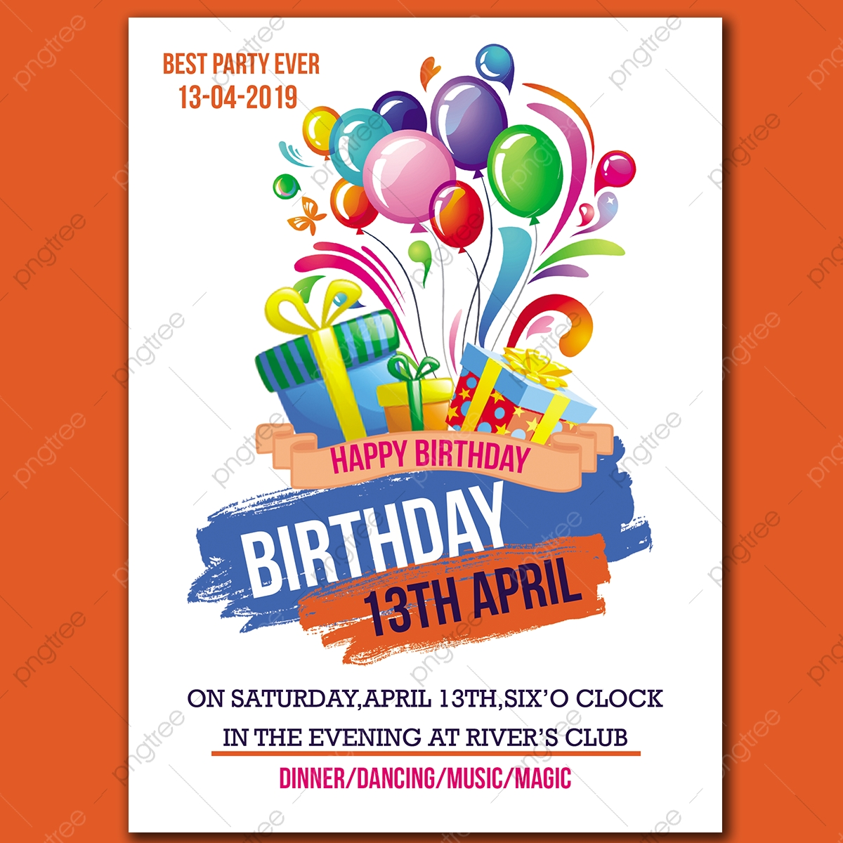 Birthday Invitation Card Template for Free Download on Pngtree