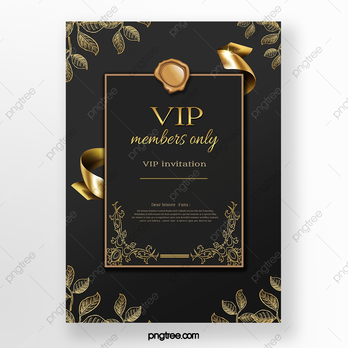 Black Luxury Gold Luxury Vip Invitation Poster Template Download On Pngtree