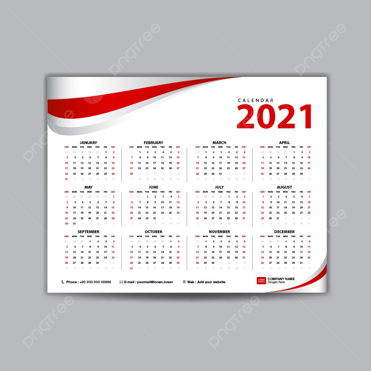 Calendario 2021 Modello Concetto Di Colore Rosso Modello per il