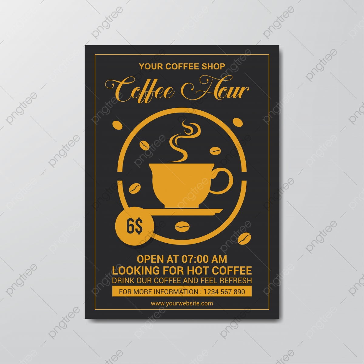 Coffee Hour Flyer Template Simple Flat Design Vector Template Download On Pngtree