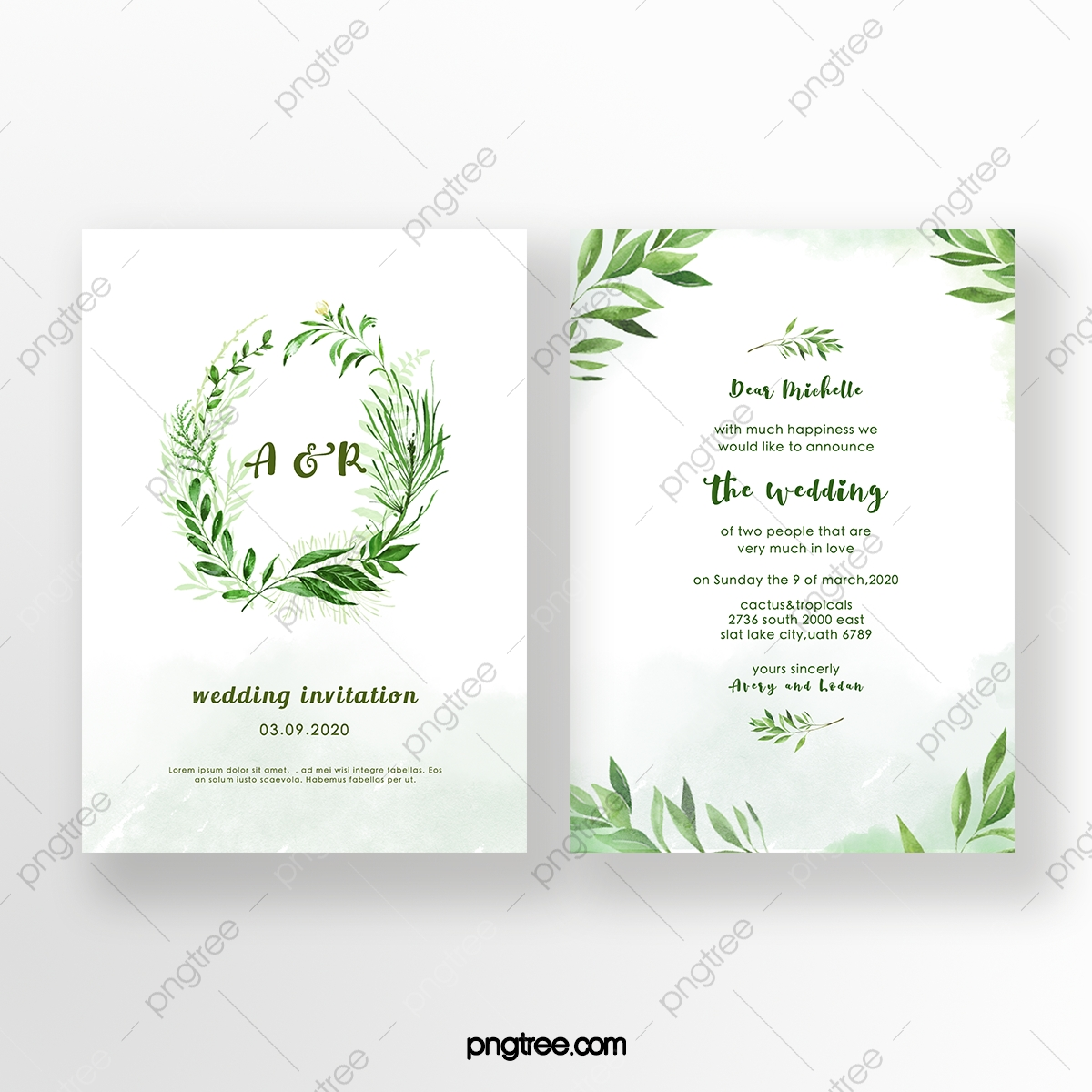 Green Leaf Fresh Style Wedding Invitation Template Download on Pngtree