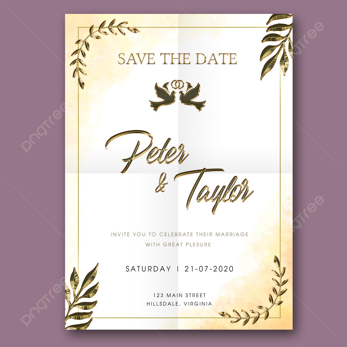 Gambar Jemputan Perkahwinan Teks Emas Mewah Putih Templat Untuk Muat Turun Percuma Di Pngtree