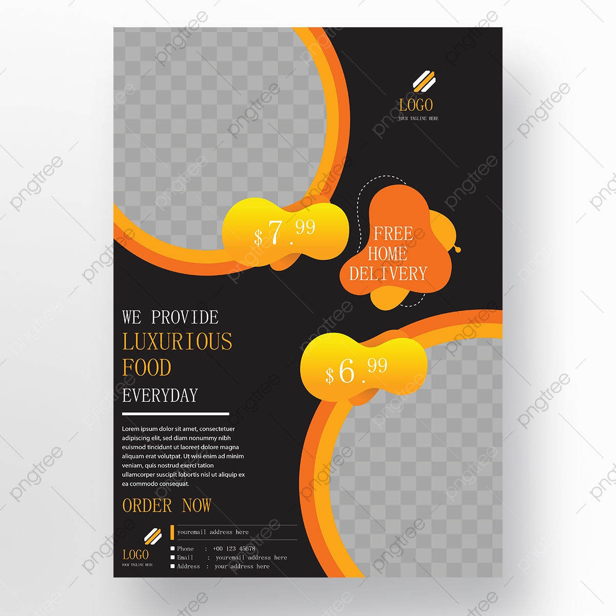 Restaurant Flyer Modern Design Yellow And Black Color Template Download On Pngtree