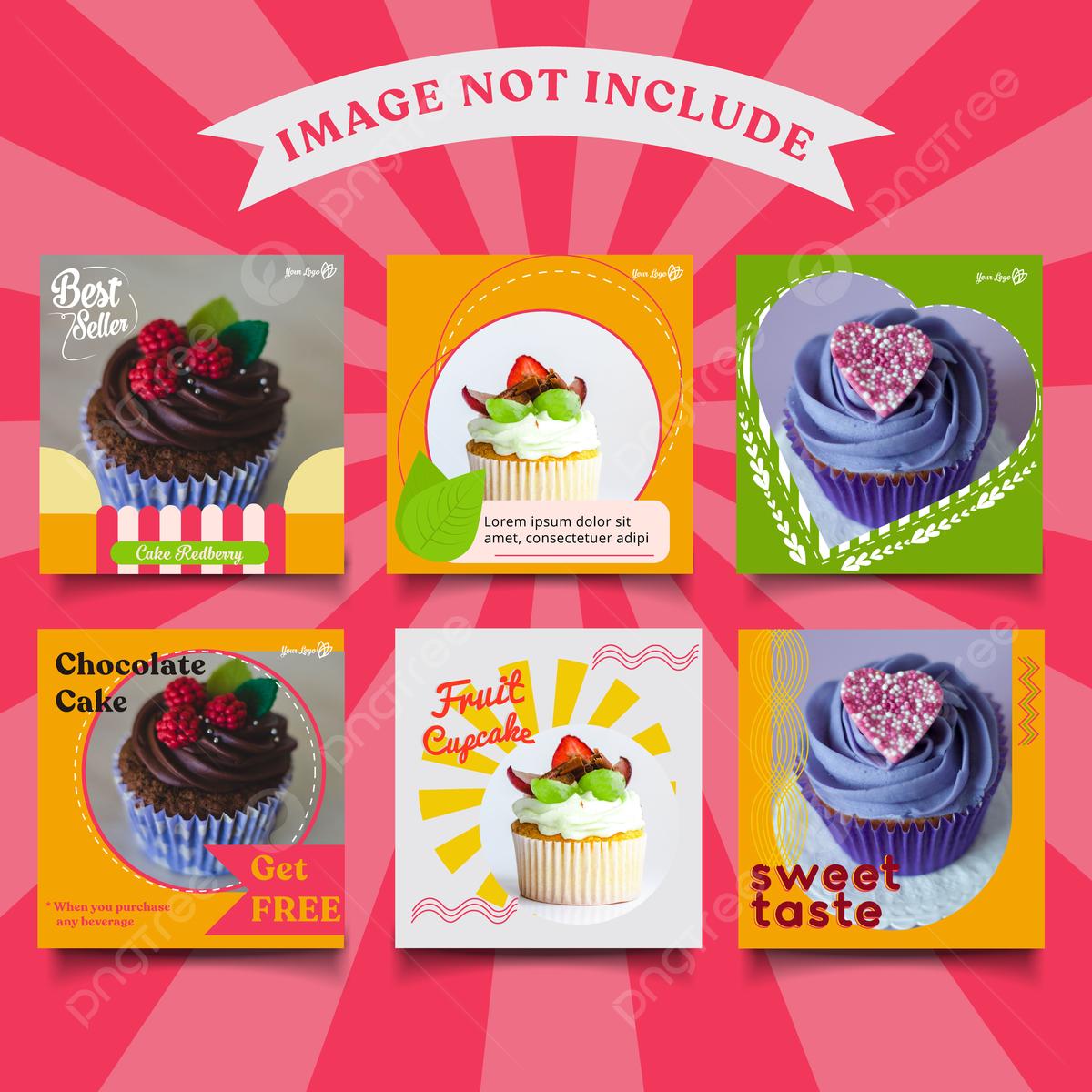 Iklan Sederhana Template Posting Media Sosial Untuk Promosi Makanan Atau Kue Lucu Templat Untuk Unduh Gratis Di Pngtree
