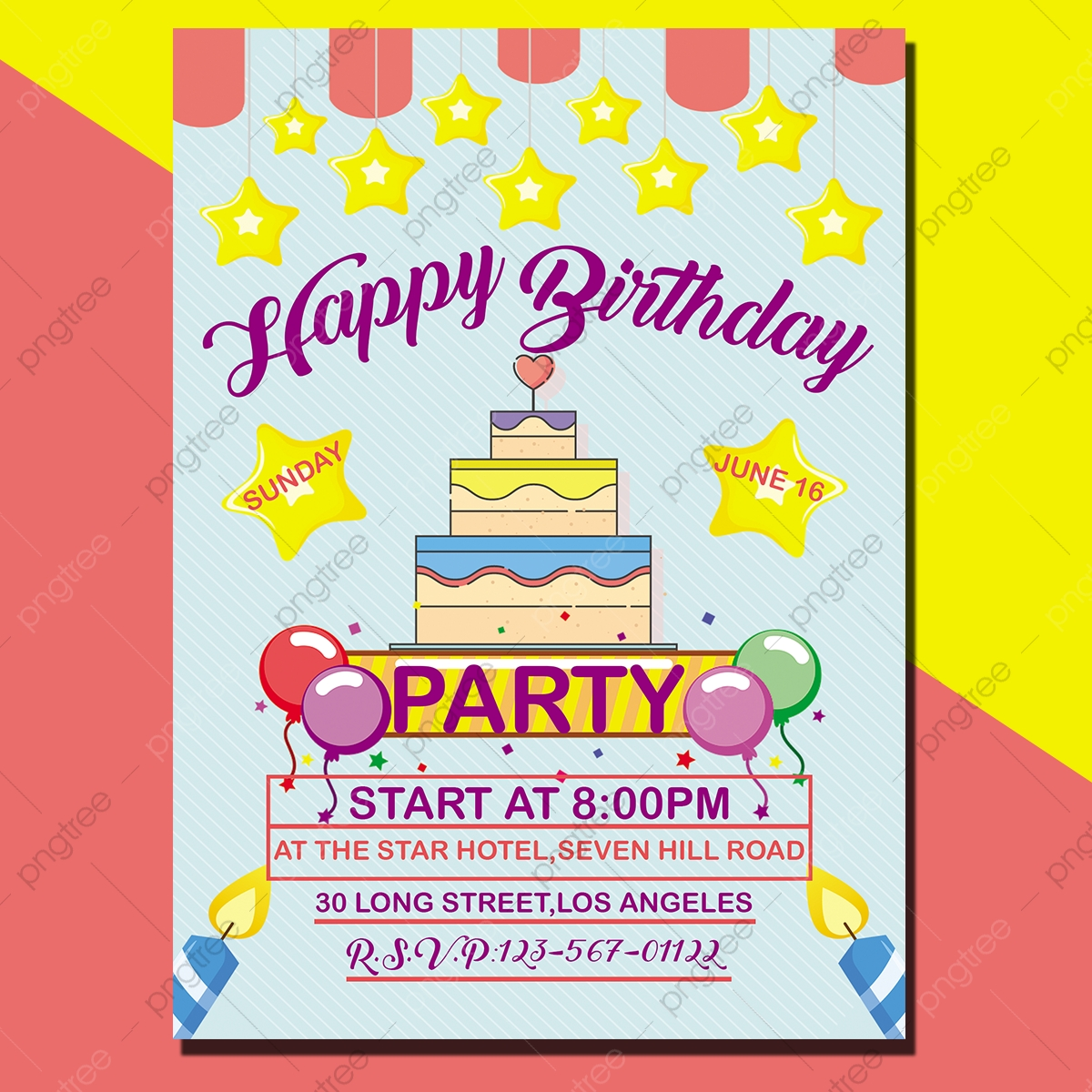 Stars Birthday Invitation Card Template for Free Download on Pngtree