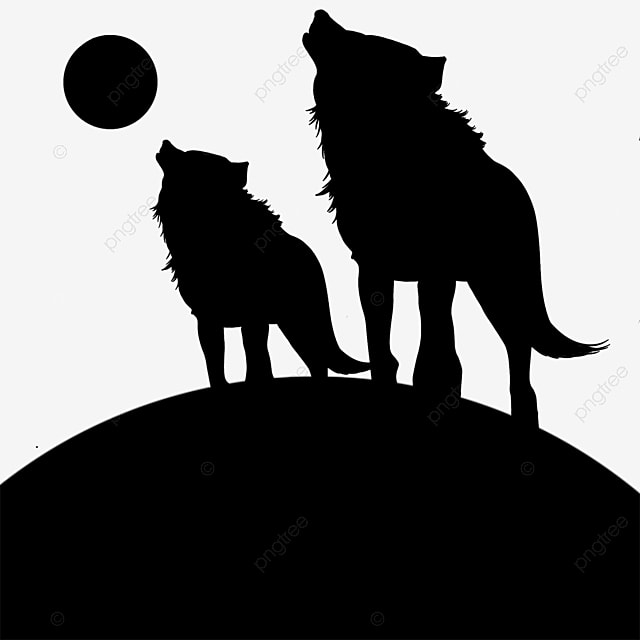 黒と白の手描き狼シルエット動物 シルエット ナチュラル 動物画像とpsd素材ファイルの無料ダウンロード Pngtree