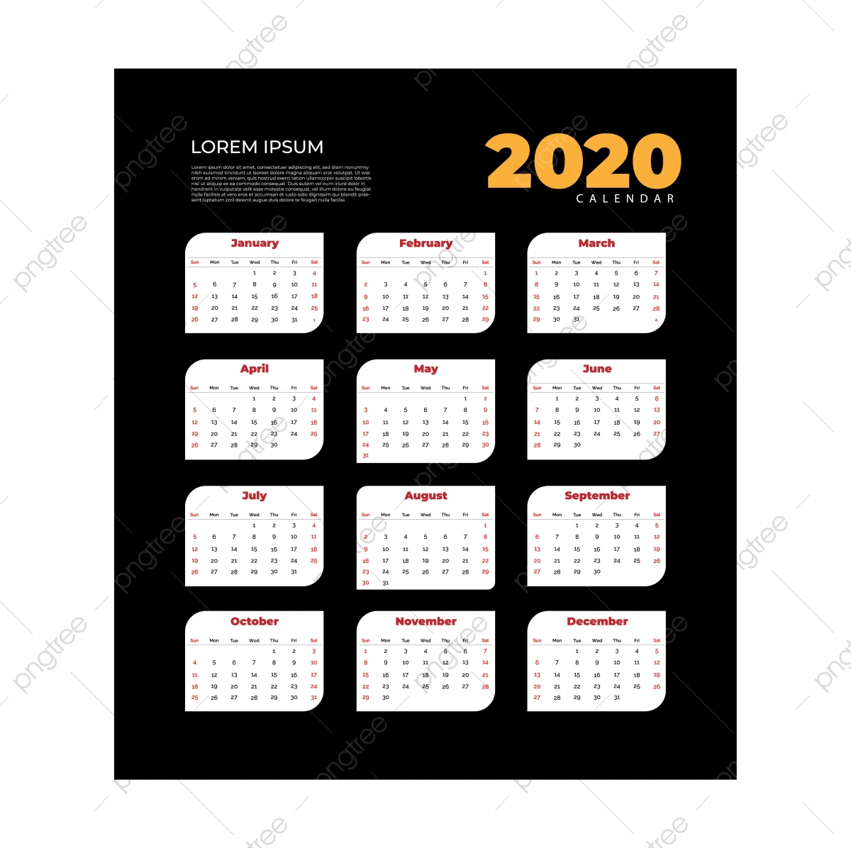 Black Calendar Template from png.pngtree.com