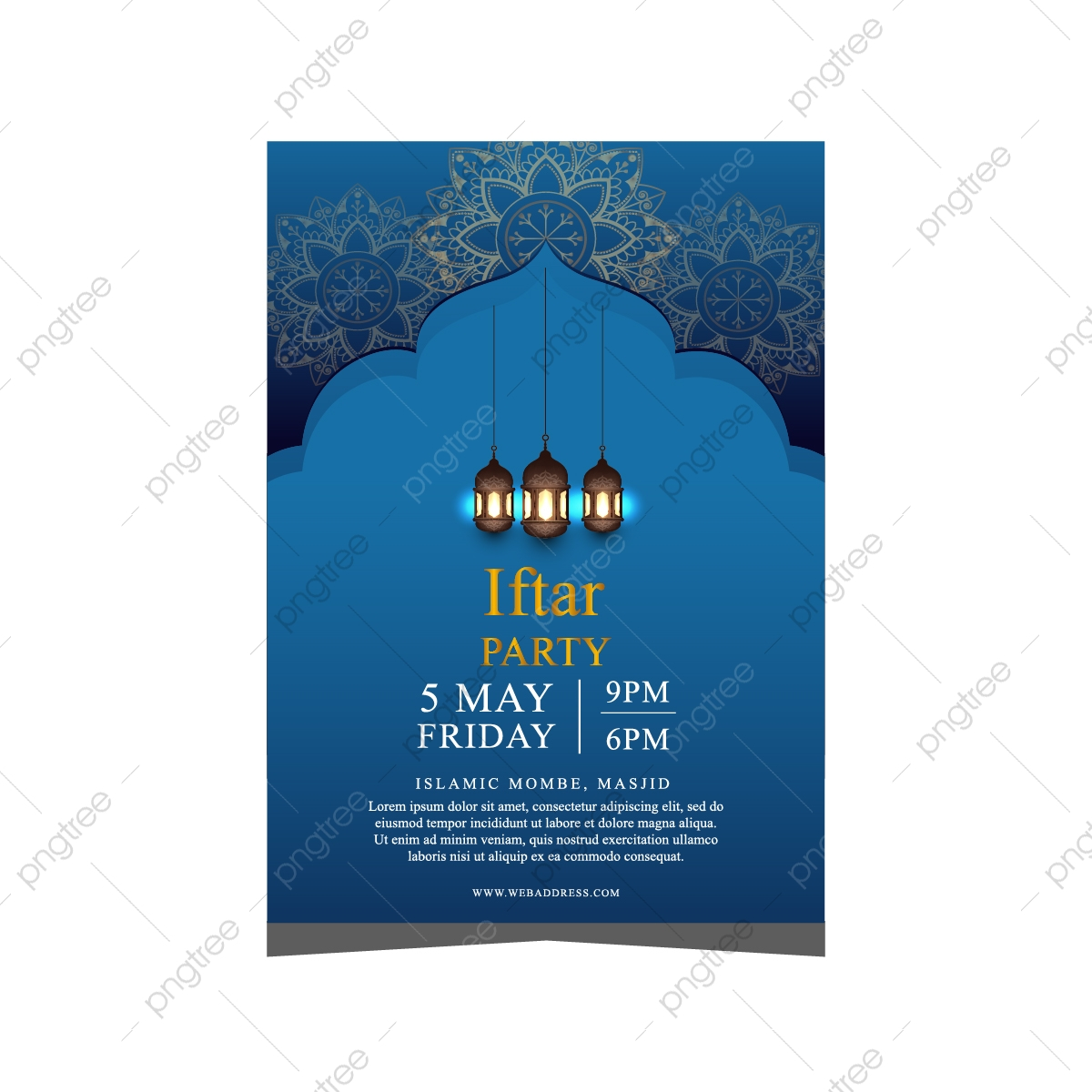 Beautiful Invitation Card Flyer For Iftar Party Template Download On Pngtree