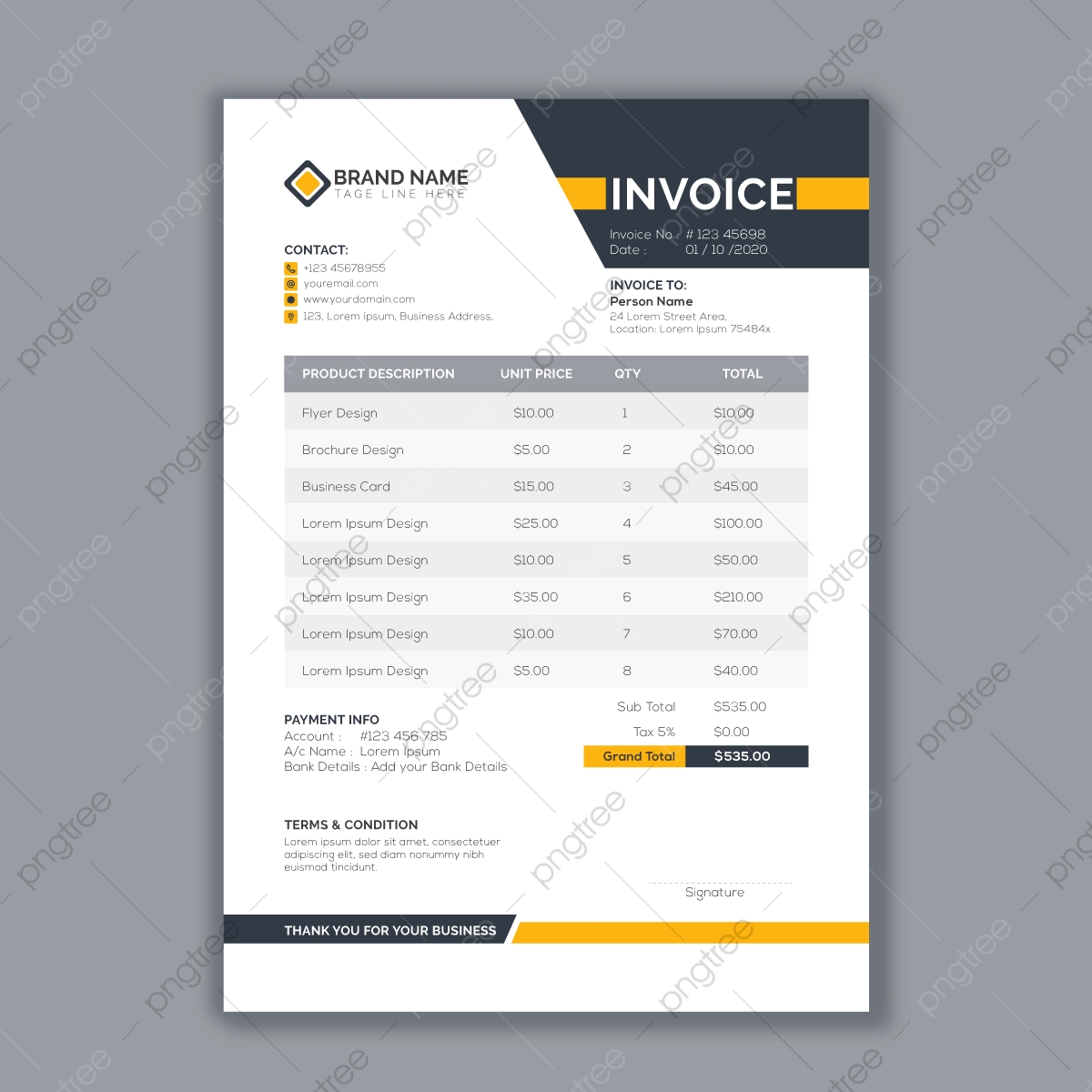 Business Invoice Template Vector Format Template Download On Pngtree